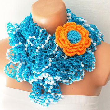 Gauze Scarf Turquoise and White Lace Shades with crochet Removeable Brooch Pin Funky Crochet Ruffle Scarf
