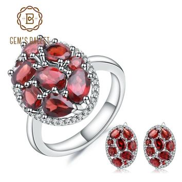 Natural Garnet 925 Sterling Silver Gemstone  Vintage Earrings Ring Set