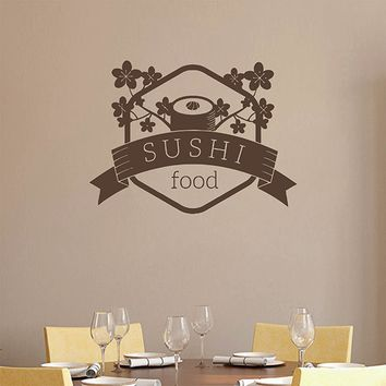 ik2782 Wall Decal Sticker Asian food sushi Japanese restaurant stained glass
