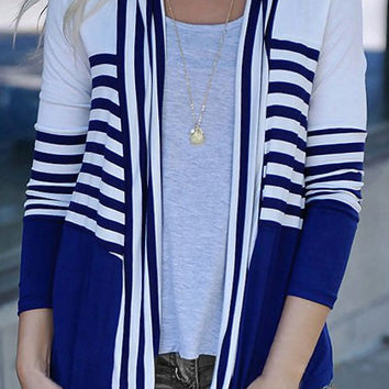 Striped Color Block Open Front Cardigan