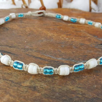 Thin Puka Shell Choker, Hemp Necklace, Blue Glass Seed Beads, Puka Shell Necklace, Gift, Hemp Choker, Nautical Necklace, Beach Jewelry, Hemp