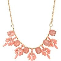 Coral Faceted Stone Snowflake Bib Necklace by Charlotte Russe