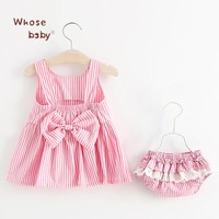 Baby Dress Girls Summer Stripe Dress Bow Lace Newborn Baby Clothing Sets KidsDresses For Girls Clothes+Underwear Children'sDress