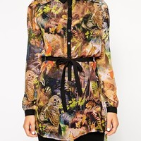Yumi Forest Creatures Longline Shirt with Tie Waist