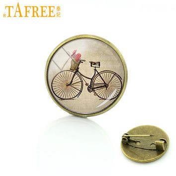 TAFREE Brown bicycle bike pins retro ethnic style women bicycle brooches men fashion hipster dress accessories casual badge T639