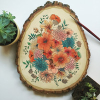 Custom Floral Watercolor Wood Slice || Hand Drawn and Handpainted