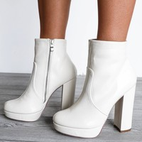 A Little Sweetness White Platform Bootie