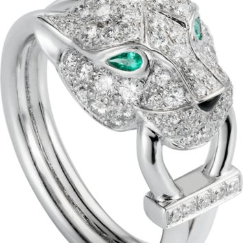 Panthère de Cartier ring: Panthère de Cartier ring, 18K white gold, set with 81 brilliant-cut diamonds totaling 0.75 carat. Emeralds, onyx.
