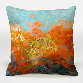 Decorative pillow with abstract art, 16x16, 18x18, 20x20 in orange and turquoise blue, finished accent pillow, Electric Illusion A