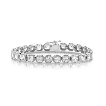 A Cushion Cut Bezel Set Chandi Diamond Tennis Bracelet