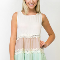 Milan Lace Detail Color Block Top