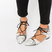 ASOS | ASOS LET'S PLAY Pointed Lace-up Ballet Flats at ASOS