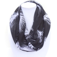 Feather Print Scarf, Black White Scarf, Black Printed Scarf, Lightweight scarf, Feather Plume Scarf, Summer Infinity Scarf