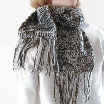 Mens Scarf, Scarflette, Neckwarmer in Pale Grey and Dark Grey. Fashion Accessories, Winter Warmers.