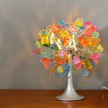 Table lighter - pastel flowers and leaves - table lamp.