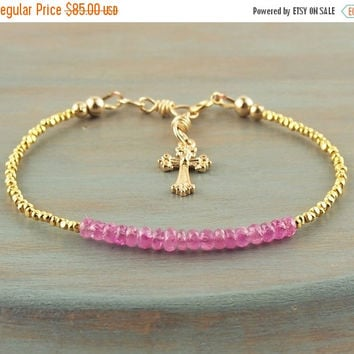 On Sale Pink Sapphire Bracelet for Layering Luscious Natural AAA Gemstone with Golden Cross Charm Tribal Vermeil Accents September Birthston