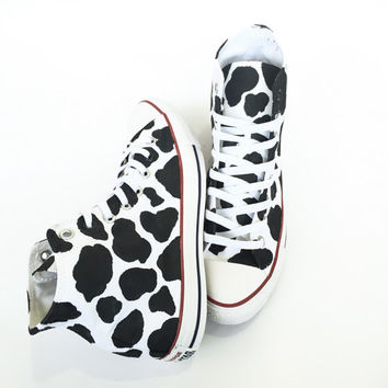 Cow Print High Top Converse Custom Hand Painted Shoes