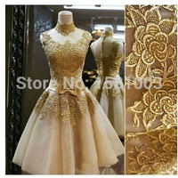 Robe De Soiree 2017 golden Short Lace Gold Evening Dresses gowns Princess Banquet Vintga High Neck Prom Dresses vestido de noche