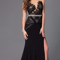 Colors 1281 Lace Jersey Sheer Illusion Prom Dress Evening Gown MOB