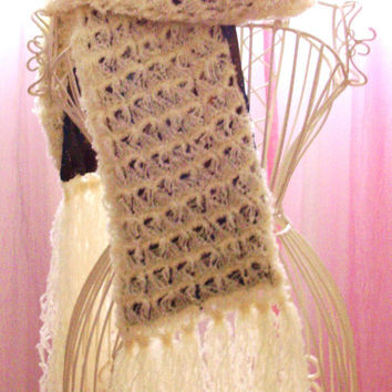 Lined Crochet Boucle Scarf - Broomstick Lace with Lining - Cream, Gold and Green Charmeuse Lining with silver beading