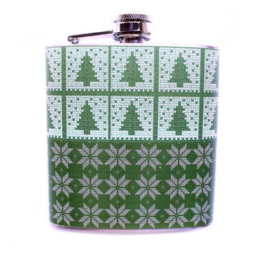 Christmas Sweater Printed Flask, Green Trees and Snowflakes, Ugly Sweater Stocking Stuffer Funny Gift