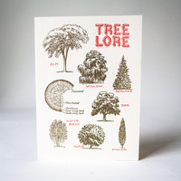 Antique Letterpress Card Tree Lore