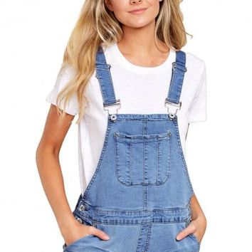 Girly Fashion Denim Short Overalls