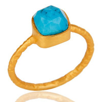 22K Yellow Gold Plated Sterling Silver Turquoise Gemstone Stackable Ring
