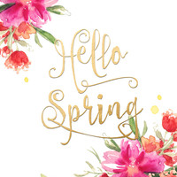 Hello Spring, inspirational quote art featuring watercolor flowers Art Print by BlursbyaiShop