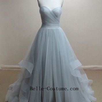 Custom-made Prom Dresses, Strapless Tulle Prom Dresses, Prom Dress, Long Prom Dresses