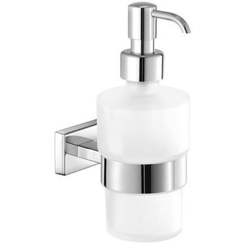 SCBA Aegean Wall Frosted Glass Pump Soap Lotion Dispenser Bath or Kitchen, Brass