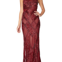 ALISON - Burgundy red fully embellished maxi dress