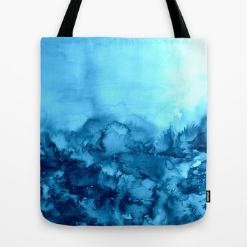 INTO ETERNITY, TURQUOISE Colorful Aqua Blue Watercolor Painting Abstract Art Floral Landscape Nature Tote Bag by EbiEmporium