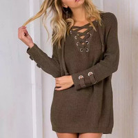 Dark Green Eyelet Lace Up V-Neck Sweater