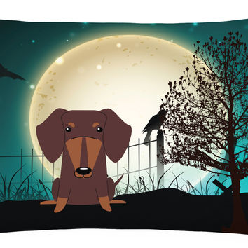 Halloween Scary Dachshund Chocolate Canvas Fabric Decorative Pillow BB2321PW1216
