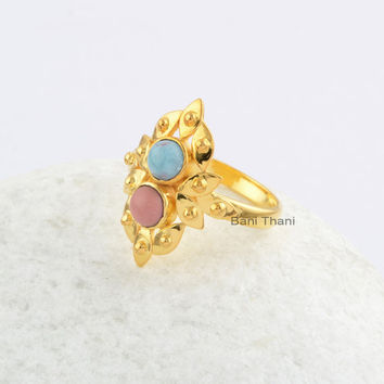 Two Stone Larimar and Pink Opal 4×4 mm Round 18k Gold Plated Sterling Silver Gemstone Ring, A Beautiful Wedding Ring Jewelry