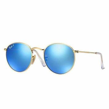 DCCK Ray Ban Round Sunglass Matte Gold Blue Polarized Mirrored RB 3447 112/4L