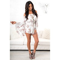 Without Warning Floral Romper (Off White)