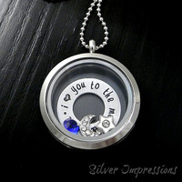 I Love You to the Moon & Back Floating Locket - Washer Charm Locket - Glass Memory Locket