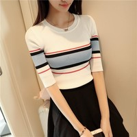 2017 New Fashion High Quality Brand Spring Summer Sweater Women thin short-sleeved O-neck Geometric Striped Knitted Sweaters