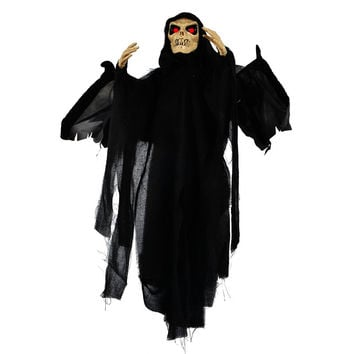 Sound Control Animated Flying Skeleton Ghost Halloween Prop with Blowing Wings Glowing Red Eyes Creepy  Halloween Decoration