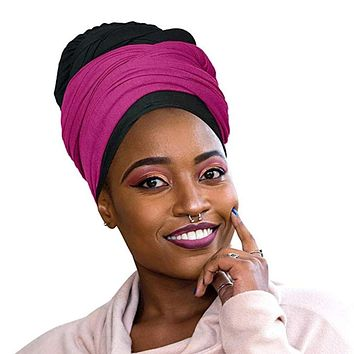 🎁 ONE DAY SALE Novarena 2 Pcs Black and Fuchsia Solid Color Head Wrap Stretch Long Hair Scarf Turban Tie Kente African Hat Jersey Knit Headwrap
