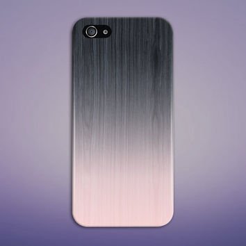 Gradient Black x Baby Pink Wood Texture Phone Case for iPhone 6 6 Plus iPhone 5 5s 5c 4 4s Samsung Galaxy s6 s5 s4 & s3 and Note 5 4 3 2