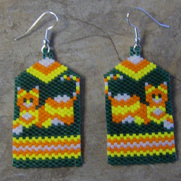 Candy Corn Calico Cat Earrings Hand Made Seed Beaded