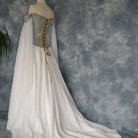 Beth, a Medieval, Elvish, Renaissance Inspired Corseted Wedding Gown.