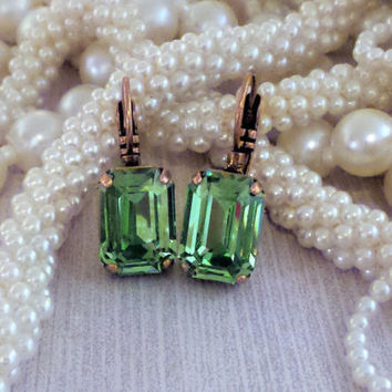 Swarovski Crystal Emerald Cut Drop Earrings,Peridot Green, Copper Setting, Everyday Earring,Evening Earring,DkSJewelrydesigns