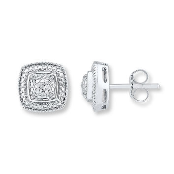 Cushion-Shaped Earrings Diamond Accents Sterling Silver