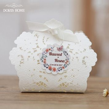 100 pcs Free Shipping Red/ White/ Gold/ Navy Blue Laser Cut Wedding Favor Boxes Candy Box Casamento Wedding Favors And Gifts