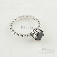High-quality Women Ring 100% 925 Sterling Silver Black crystal Ring European Pandora Charm Style Fashion Jewelry Ring