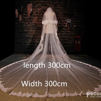 2015 new 2 Layer white lvory lace Cathedral wedding veils bridal accessories voile vestido de casamento velo de novia 300cm +comb = 1933203204